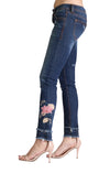 Pink Floral Embroidered Distressed Skinny Jeans | JNW-2251