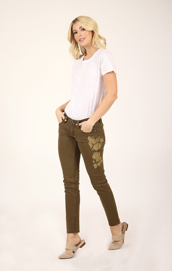 Olive Floral Embroidered Skinny Jeans | JNW-2255