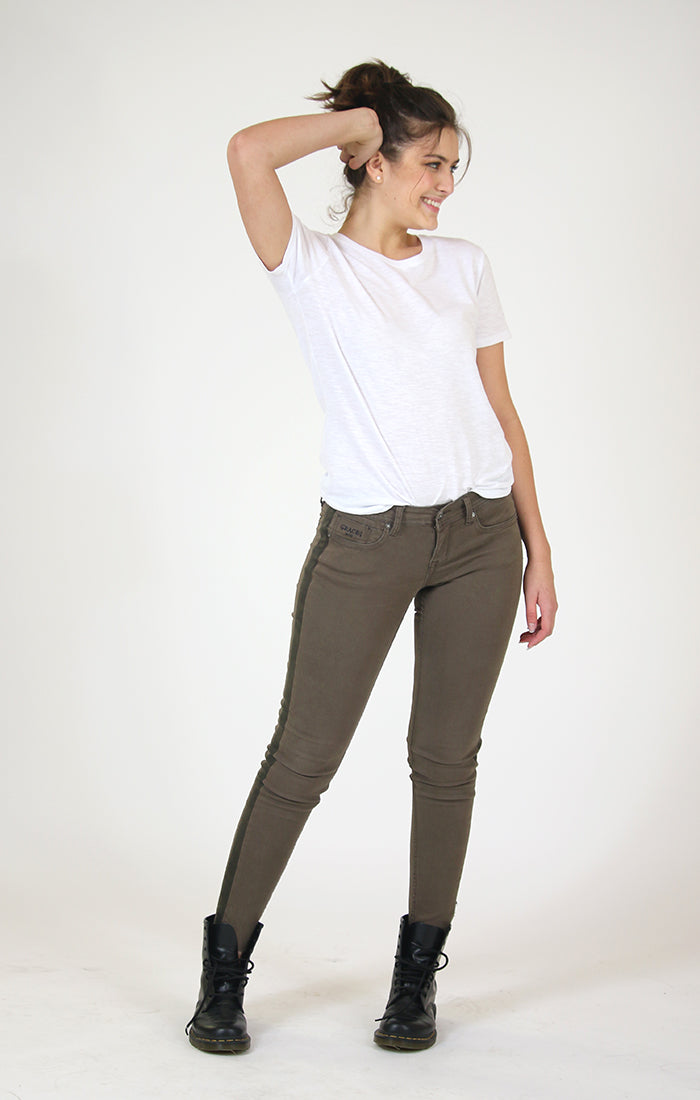 Olive Side Stripe Ankle Junior Skinny Jeans | JNW-2713-OLV