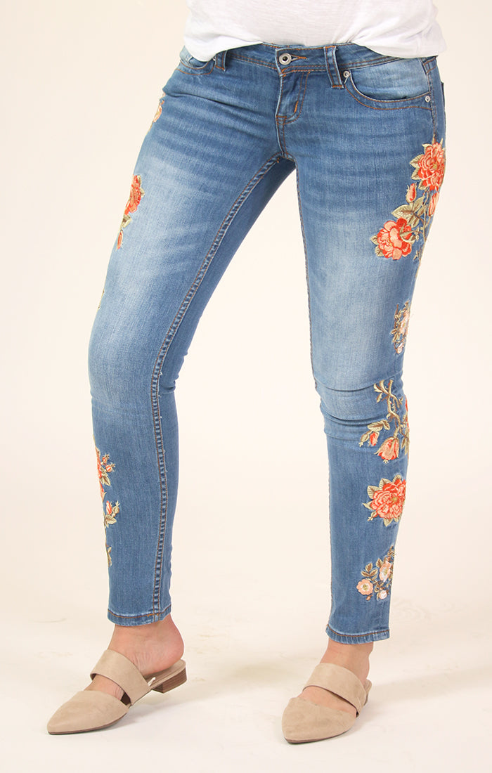 Floral Embroidered Skinny Jeans | JNW-3216