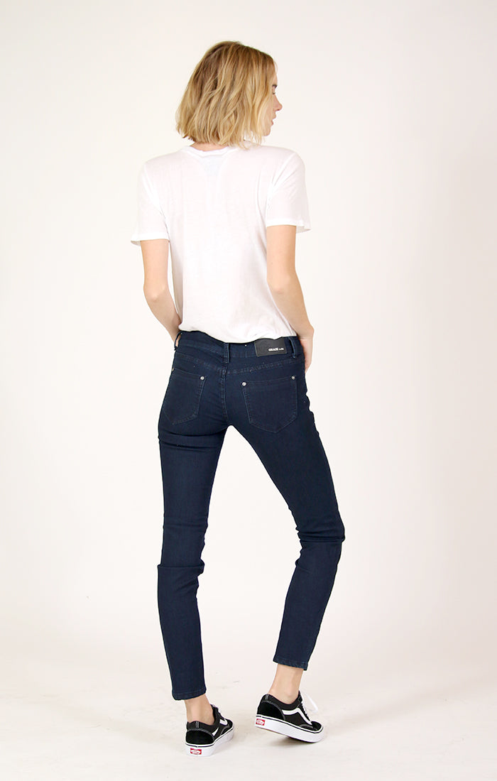 Dark Wash Low Rise Skinny Jeans | JNW-51146-B