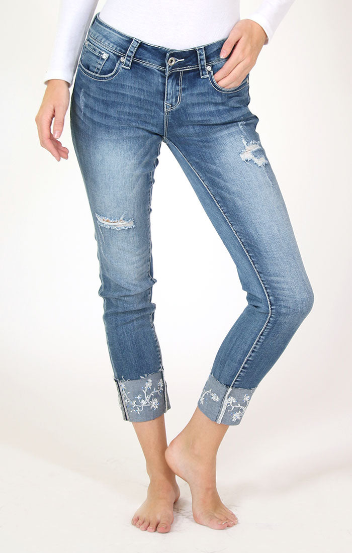 White Floral Cuffed Skinny Jeans | JNW-51380