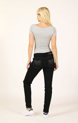 Black Feather Sequin and Embellished Low Rise Skinny Jeans | JNW-51553-BLK