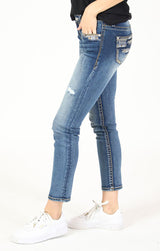 Distressed Stitched Embroidered Lines Low Rise Skinny Jeans | JNW-51561