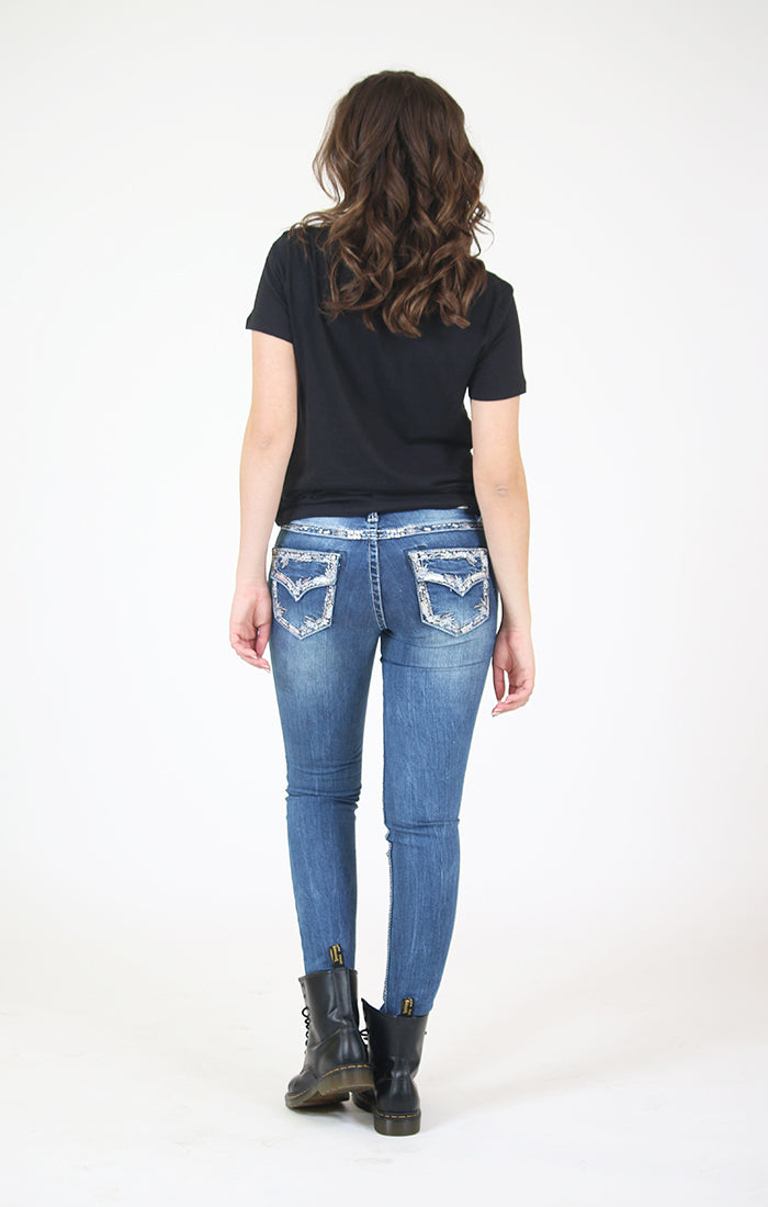 Western Embellished Flap Pocket Junior Skinny Jeans | JNW-61310