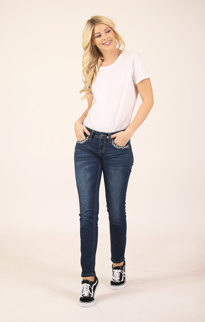 Dark Wash Embellished and Faux Zipper  Low Rise Skinny Jeans | JNW-61320
