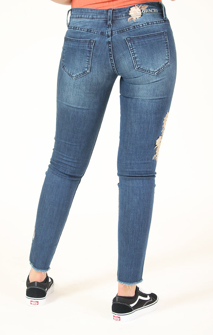 White Floral Embroidered Skinny Jeans | 71044