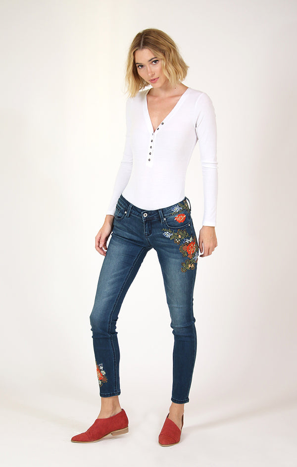 Floral Embroidered Skinny Jeans | JNW-71045