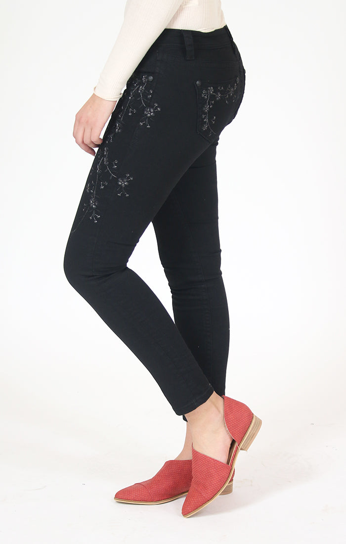 Black Embroidered Skinny Jeans | JNW-81170