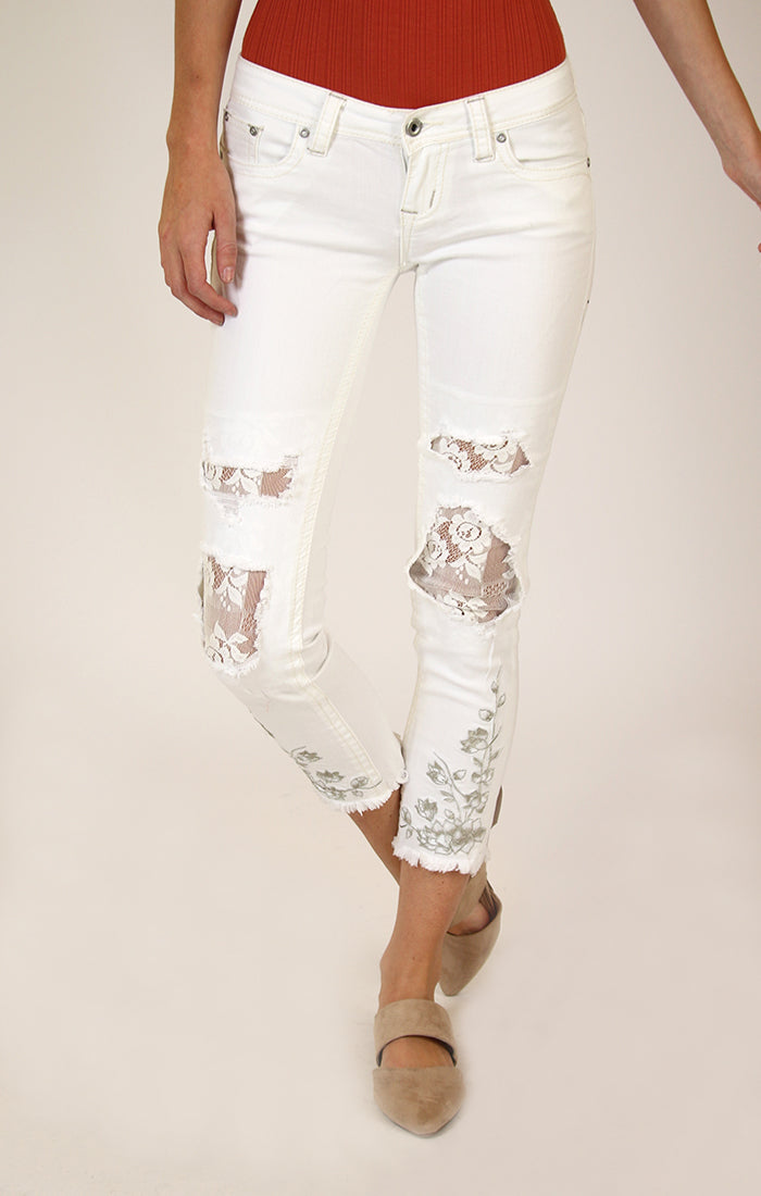 White Lace-Detail Skinny Jeans | JNW-81197-WT
