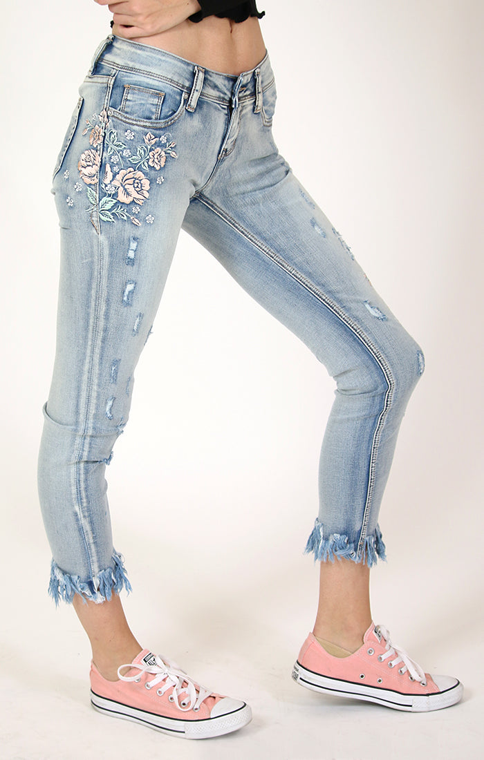 Light Wash Floral Embroidered Skinny Jeans | JNW-81229