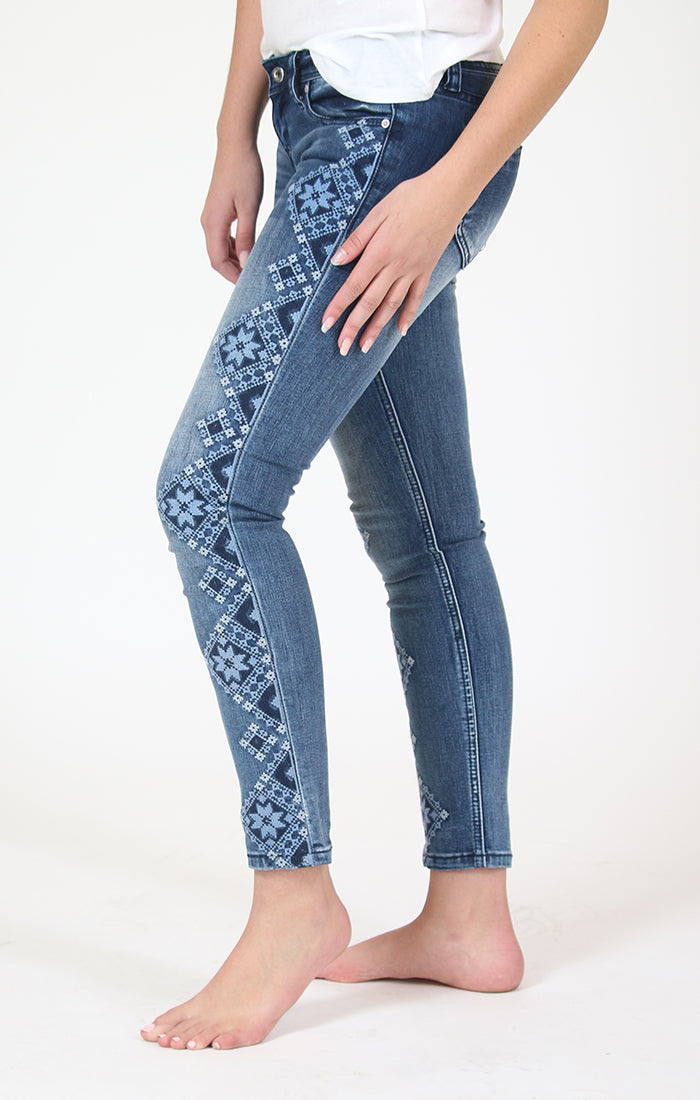 Blue Floral Embroidered Skinny Jeans | JNW-81288