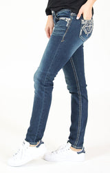 Dark Wash Aztec Embroidered Low Rise Skinny Jeans | JNW-81358