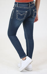 Dark Wash Embroidered Border Stitched Junior Skinny Jeans | JNW-81396