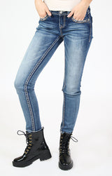 Western Embroidered Flap Pocket Low Rise Skinny Jeans | JNW-81509