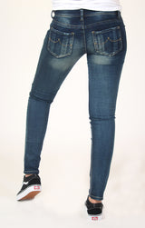Medium Wash Knit Denim Skinny Jeans | JNW-9175