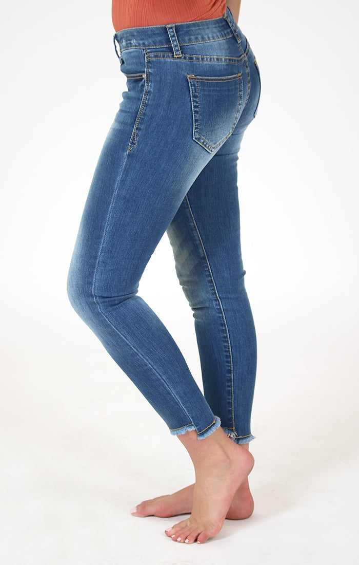 Unfinished Hem Light-Wash Skinny Jeans | JNW-9244