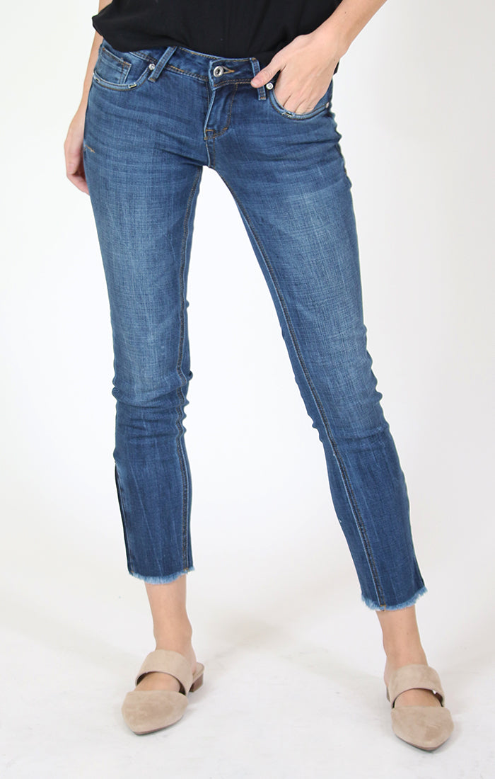 Side Zipper Medium-Wash Skinny Jeans | JNW-9305