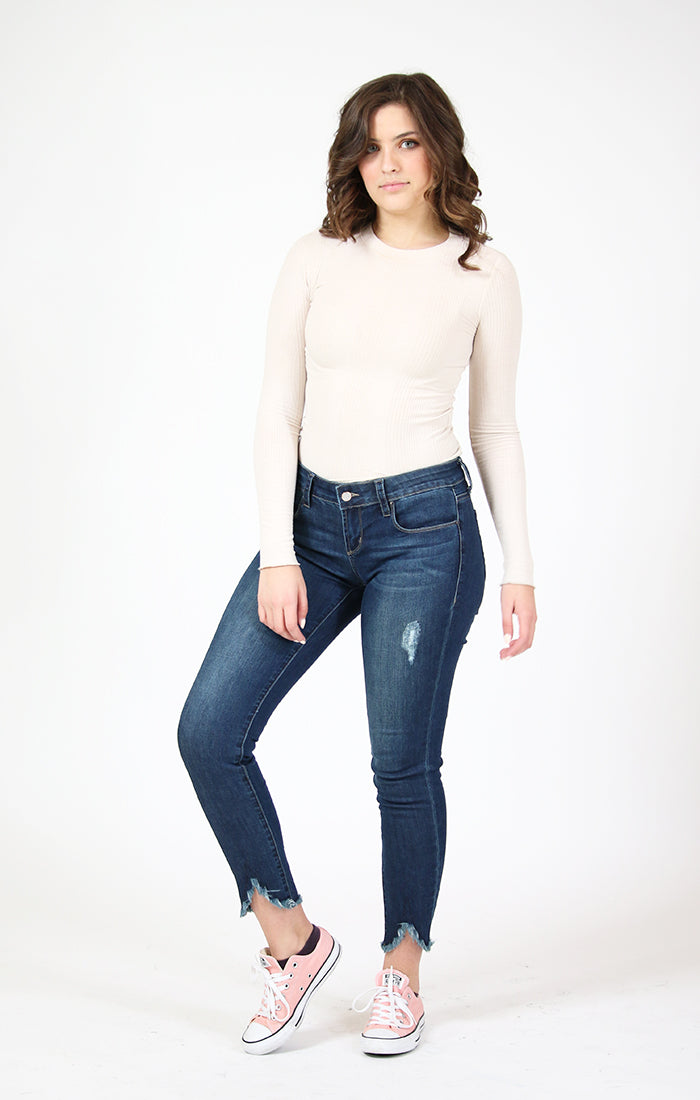 Distressed Uneven Unfinished Hem Skinny Jeans | 9323