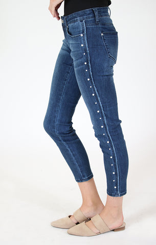 Dark Wash Pocket Detail Embellished Skinny Jeans | JNW-71008