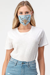 Longhorn Tribal Embroidery Dark Reusable Cloth Face Mask | MASK-XF7