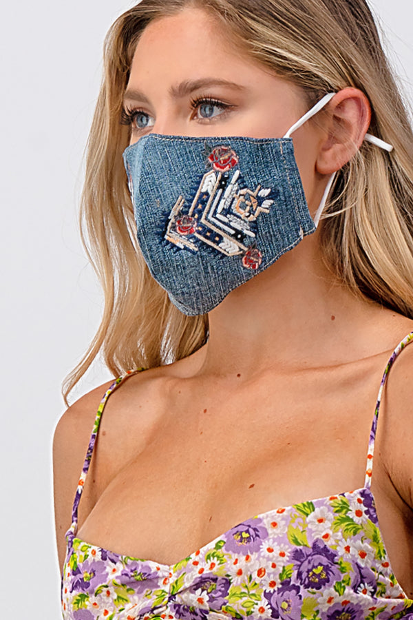 Tribal Embroidery Dark Reusable Cloth Face Mask | MASK-XF8
