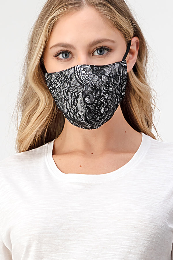 Black Lace Reusable Cloth Face Mask | MASK-XF9BLK