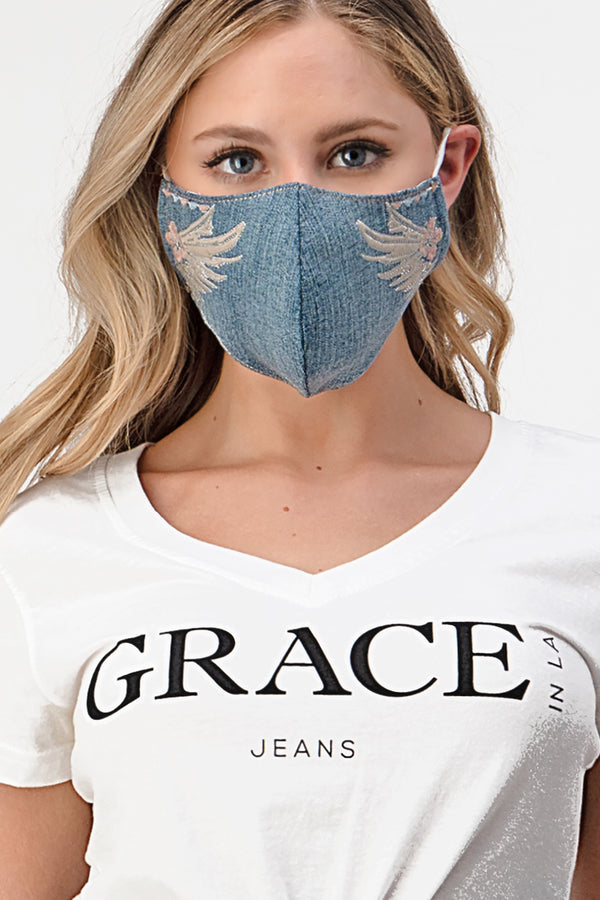 Winged Embroidery Denim Reusable Cloth Face Mask | MASK-K4