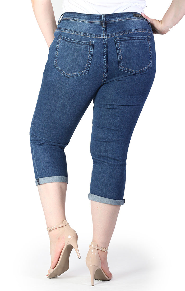 Distressed Plus Capri Jeans | PC-9257