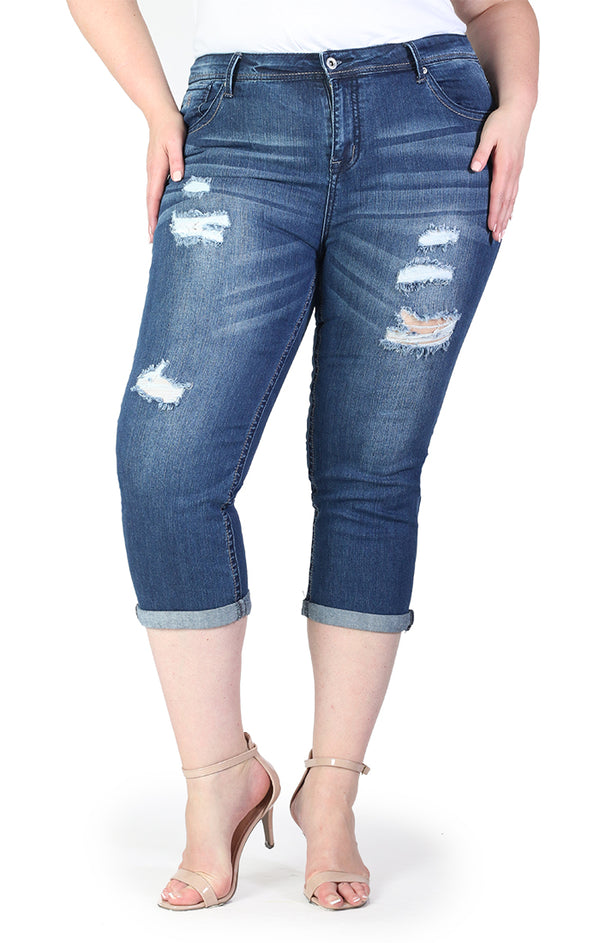 Distressed Medium Wash Plus Size Capri Jeans | PC-9257