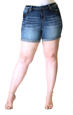 Medium Wash Plus Size Denim Shorts | PH-51509