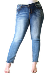 Light Wash Plus Size Skinny Jeans | PN-51060-ND