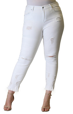 Frayed Distressed White Plus Size Skinny Jeans | PN-51278-WT