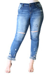 Medium Wash Floral Embroidered Skinny Jeans | JNW-61306