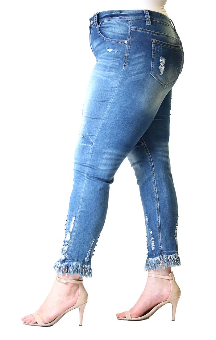 Frayed Distressed Plus Size Skinny Jeans | PN-51278