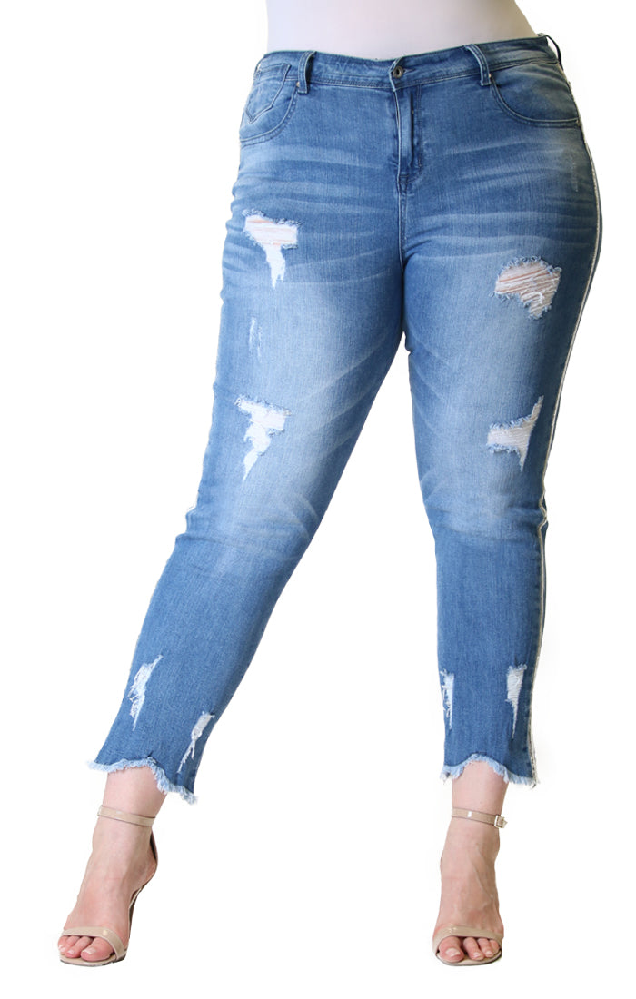 Distressed Side Stripe Plus Size Skinny Jeans | PN-51396