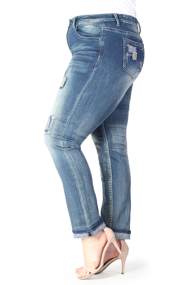 Patched Knit Denim Plus Size Skinny Jeans | PN-61192