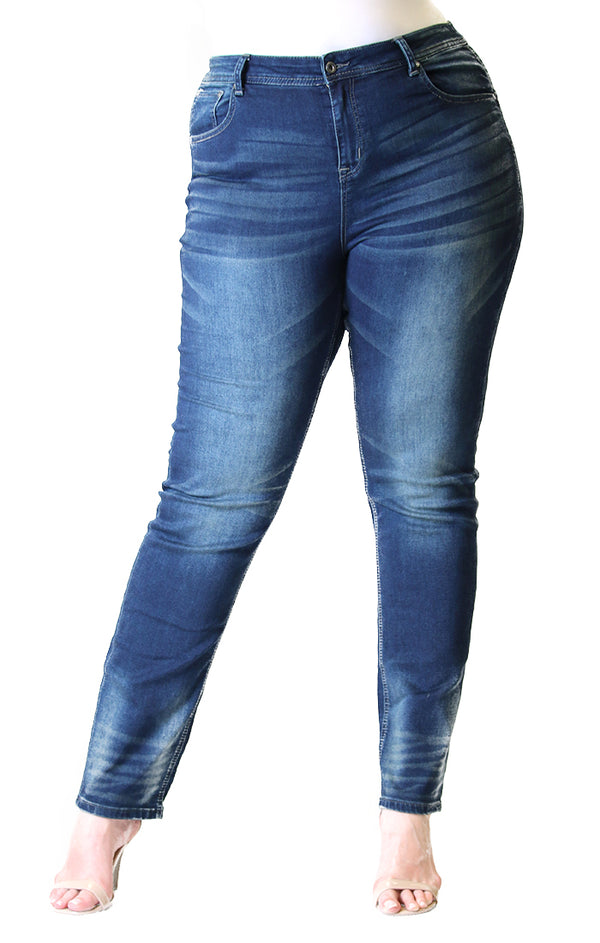 Dark Wash Knit Denim Plus Skinny Jeans | PN-9198-ND