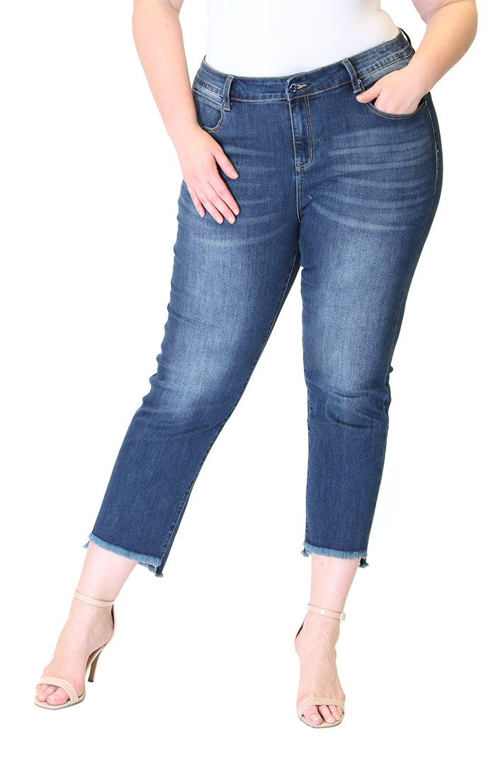 Medium-Wash Knit Denim Plus Size Skinny Jeans | PN-9245
