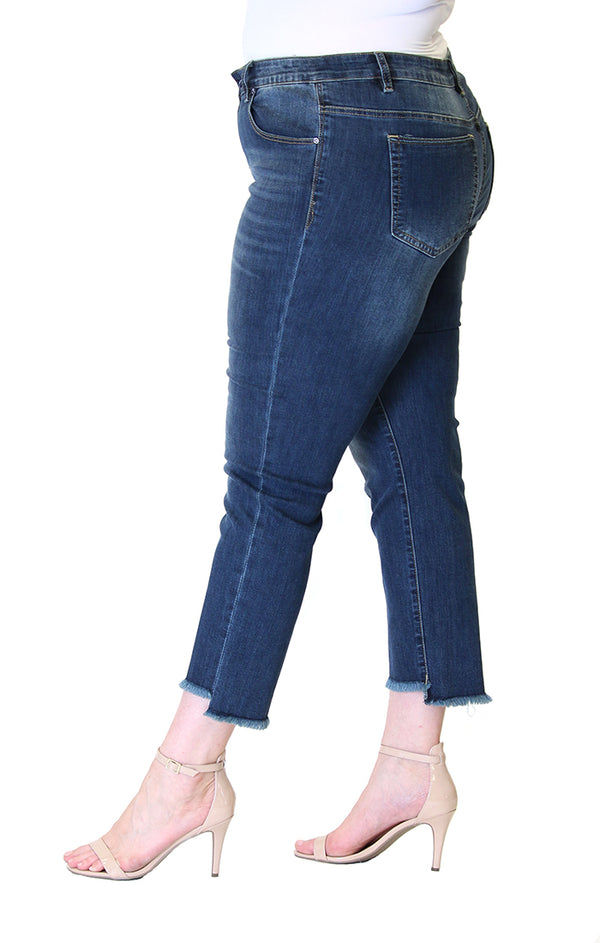 Medium-Wash Frayed Hem Plus Size Skinny Jeans | PN-9245