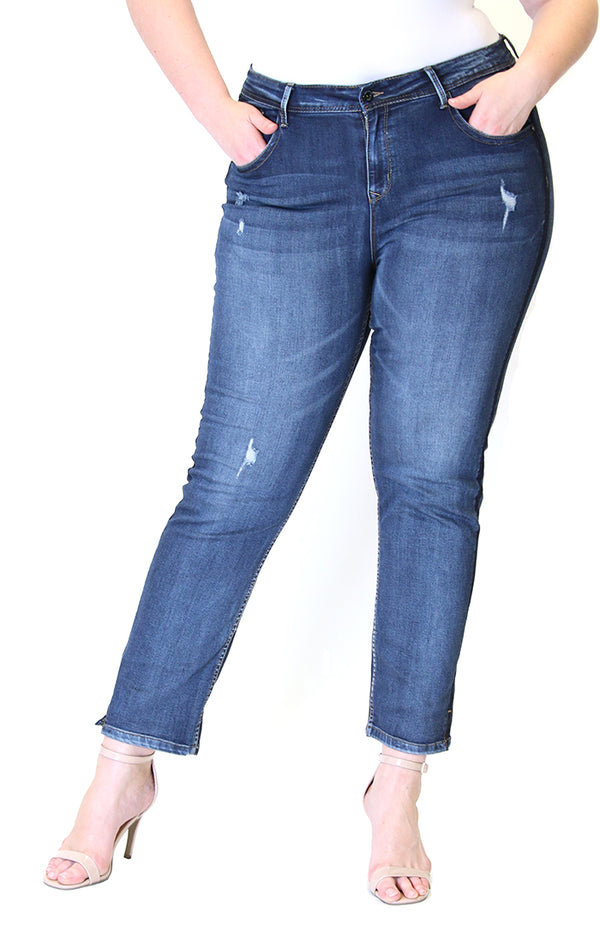 Side Stripe Dark Wash Plus Size Skinny Jeans | PN-9284-BL