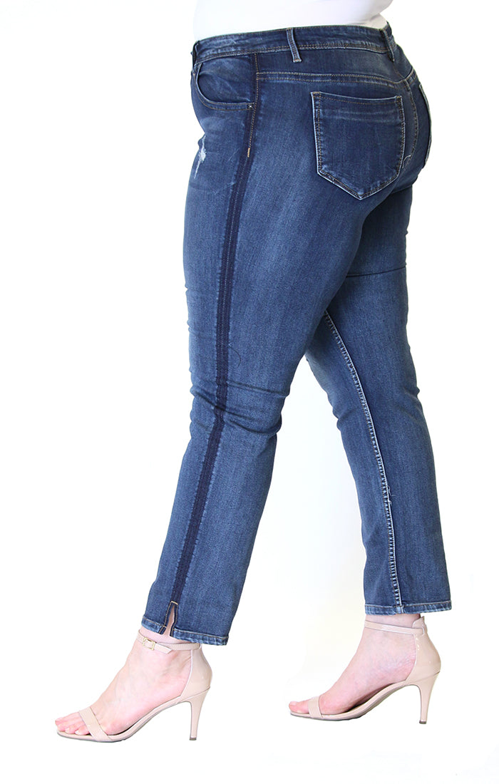 Dark-Wash Side Stripe Plus Size Skinny Jeans | PN-9284-BL
