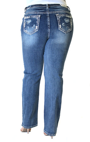 Light-Floral Distressed Skinny Jeans | JNW-51298