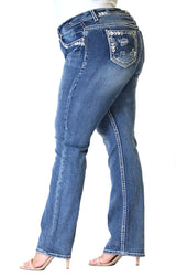 Distressed Border Stitched Embroidered Plus Size Straight Jeans | PS-51397