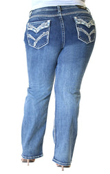 Stitched Embellished Flap Pocket Plus Size Straight Jeans | PS-51515