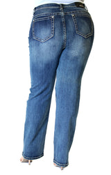 Medium Wash Plus Size Straight Jeans | PS-51532