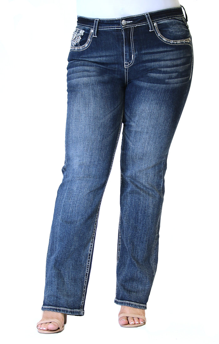 Western Embellished Plus Size Straight Jeans | PS-51533