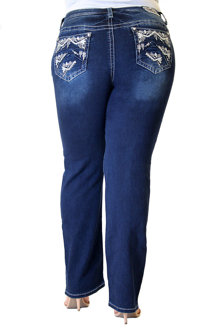 Dark Wash Western Embellished Knit Denim Plus Size Straight Jeans | PS-61329-KT