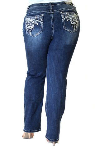 Dark Wash Floral Embroidered Easy Skinny Jeans | EN-2225