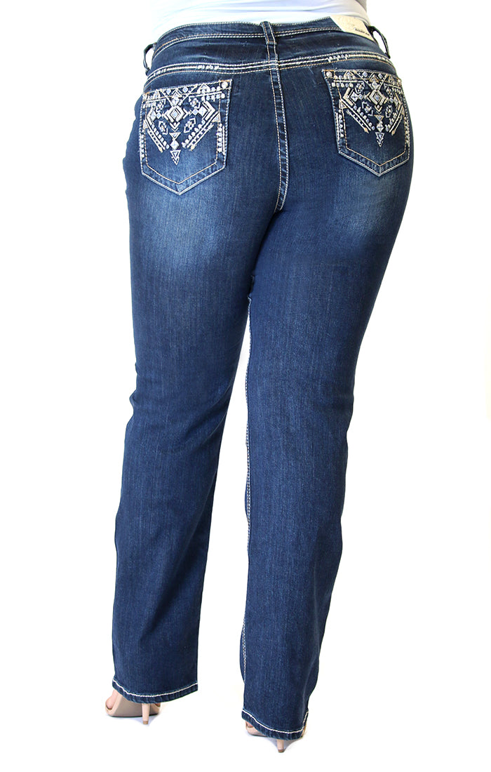 Dark Wash Aztec Embroidered Plus Size Straight Jeans | PS-81358